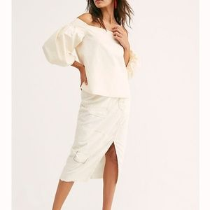 Free People NWT White Mare Mare Rina Top Size Lg